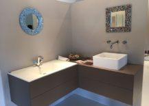 Bathroom vanity makes ingenios use of corner space - Fiore Rubinetterie