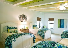 Beach style bedroom with bright white ceiling beams and apple green goodness