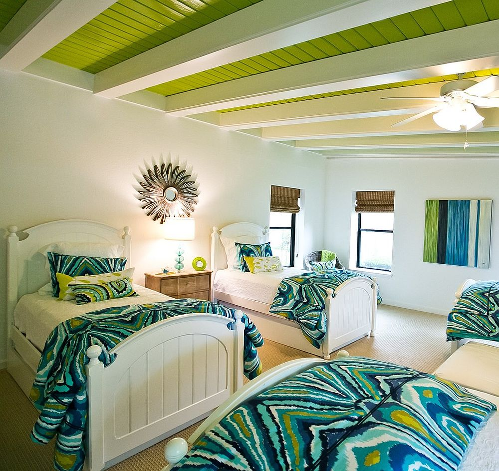 Beach style bedroom with bright white ceiling beams and apple green goodness [Design: Robin Gonzales Interiors]