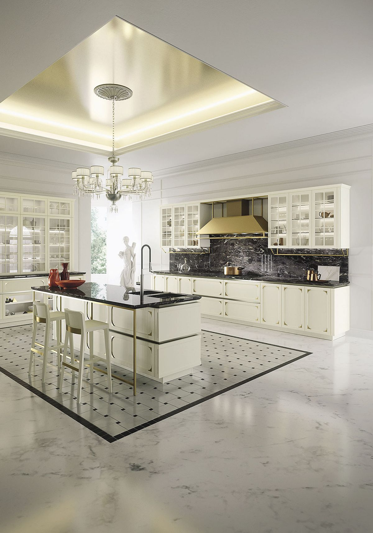 Beautiful and chic kitchen with dark, granite worktops and a white backdrop