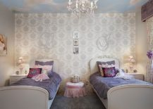 Beautiful litlle girl's bedroom in pink and blue with a unique ceiling design