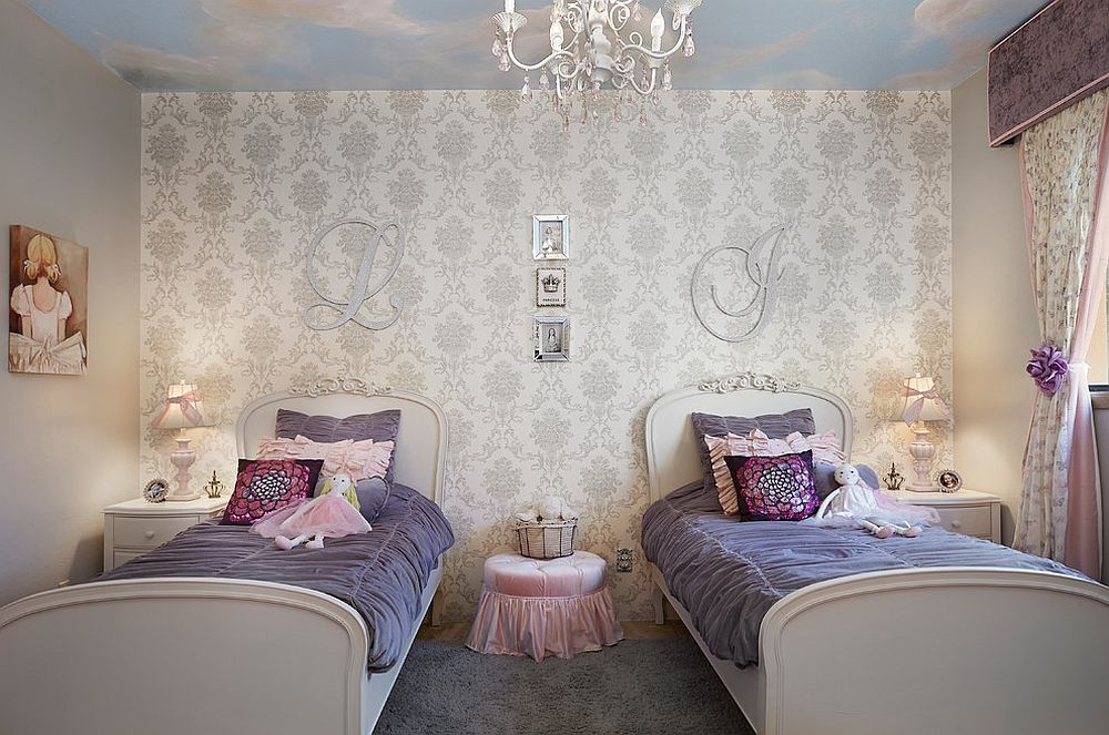 Beautiful little girl's bedroom in pink and blue with a unique ceiling design [Design: Designs by Priya]