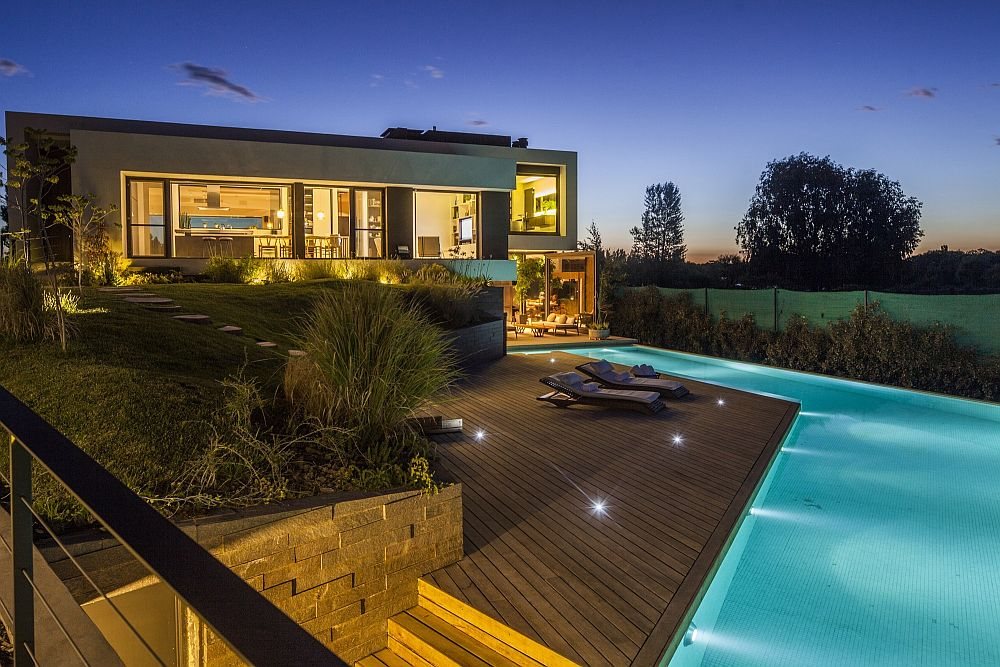 Beautifully lit home and pool area of Casa Rampa