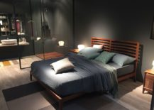 Bed with sleek wooden frame from Dale Italia at Milan 2016