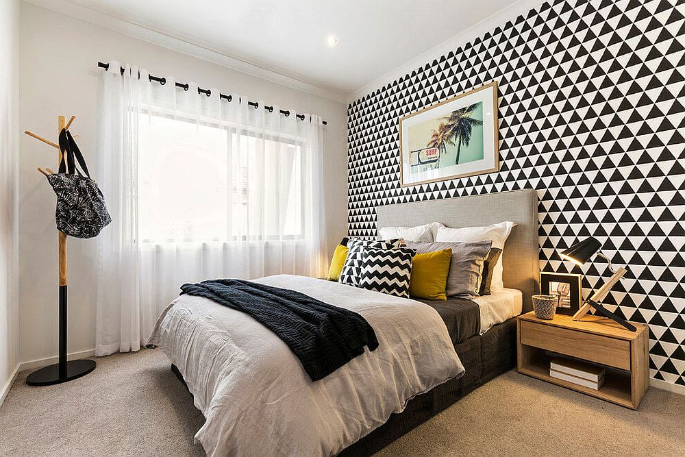 Bedroom with geometric pattern for the headboard wall