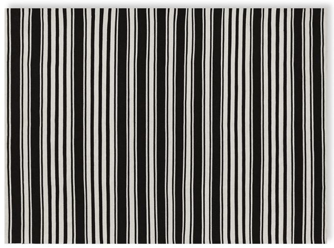 Black and white striped rug from Williams-Sonoma