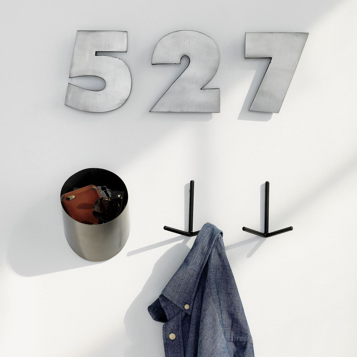 Black metal wall hooks from CB2
