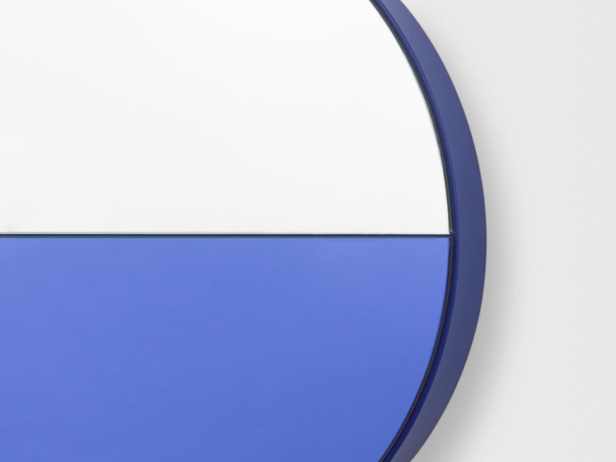 Blue colorbocked geo mirror
