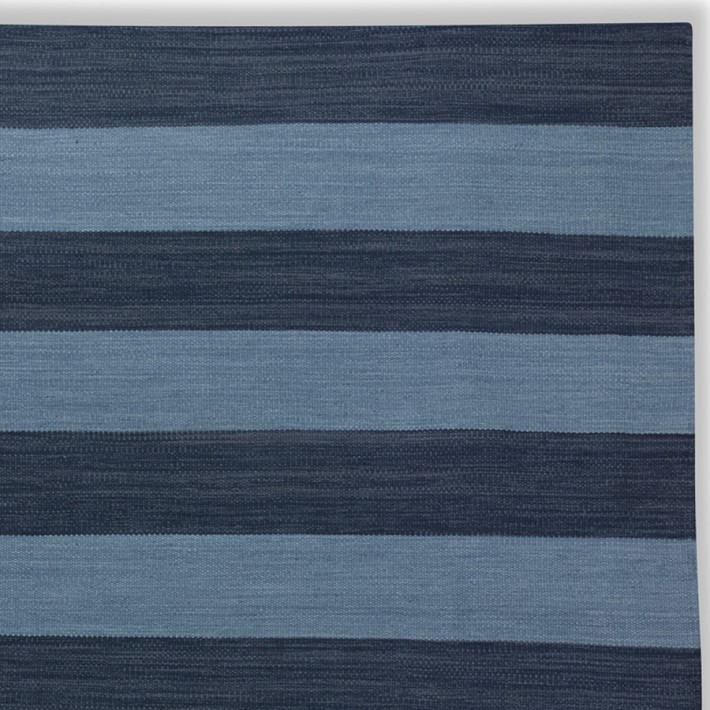 Blue striped rug from Williams-Sonoma