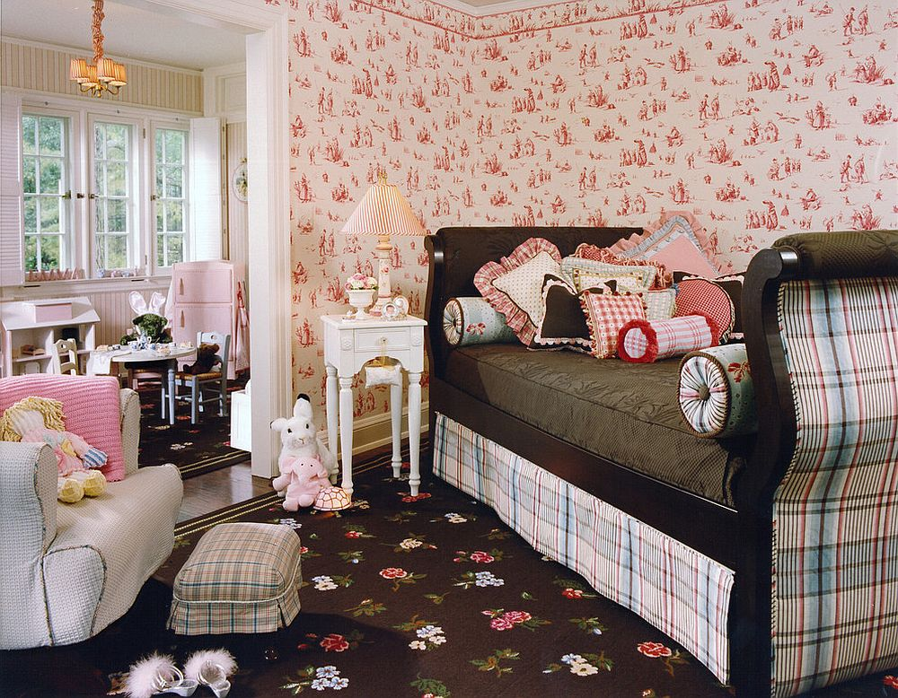 Bright and cheerful kids' room with loads of pattern [Design: Lola Watson Interior Design]