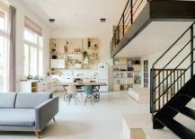Bright and cheerful living area of the modern apartment in Amsterdam 217x155 Early 1900s School in Amsterdam Turned into a Cheerful Apartment