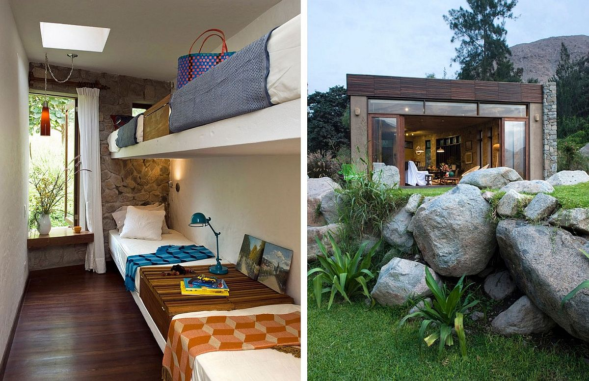 Bunk bed room and landscape at Casa Chontay