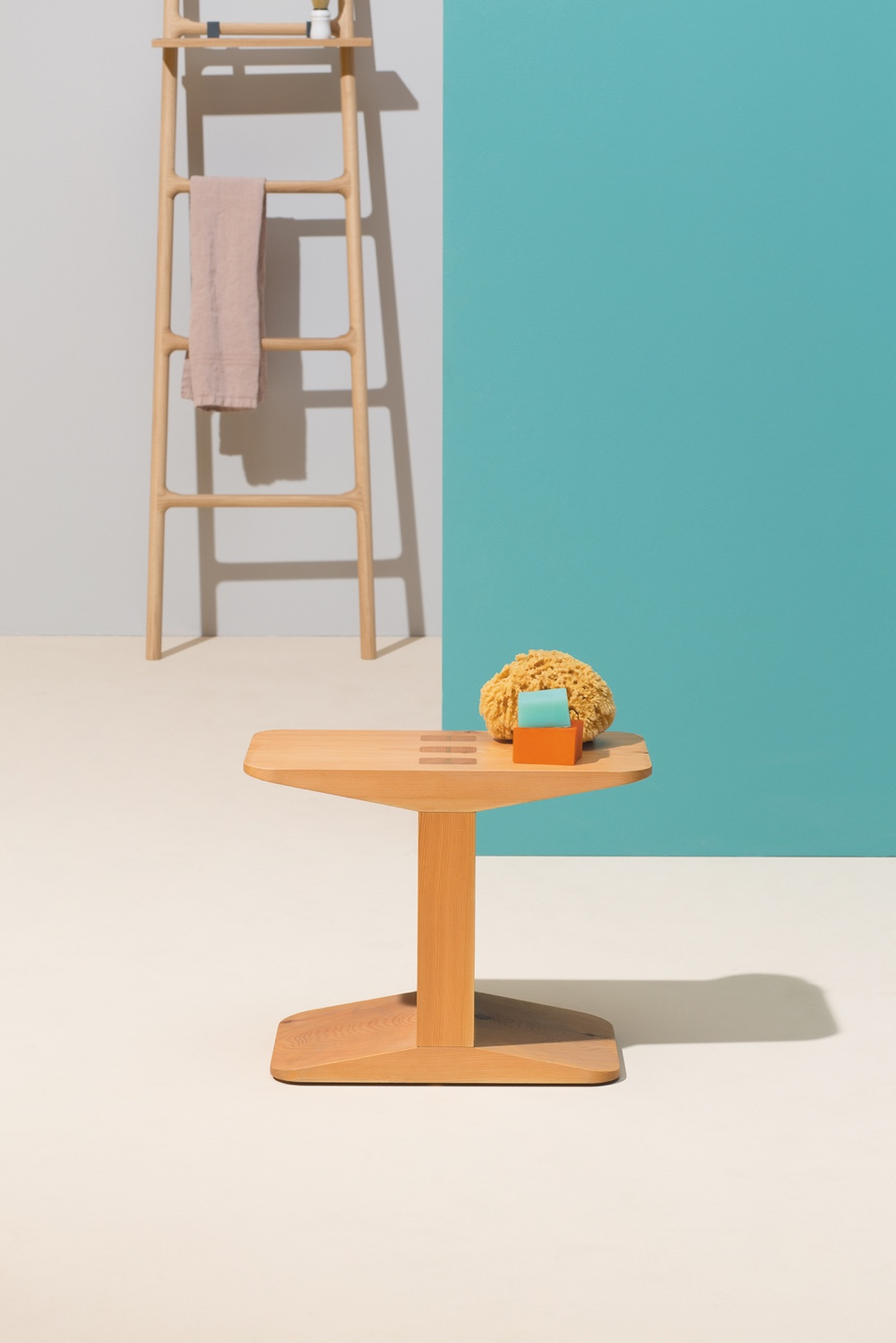 The Centanni solid larch stool designed by James Irvine. Image via Klat.