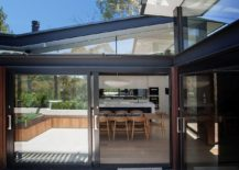 Central courtyard space created by the twin structures of the Aussie home
