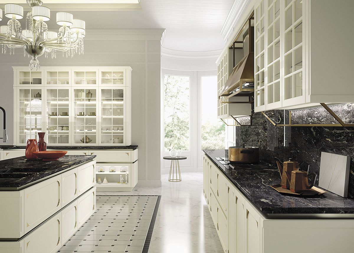 Classi kitchen cabinets and large hood enhance the timeless appeal of this Snaidero kitchen