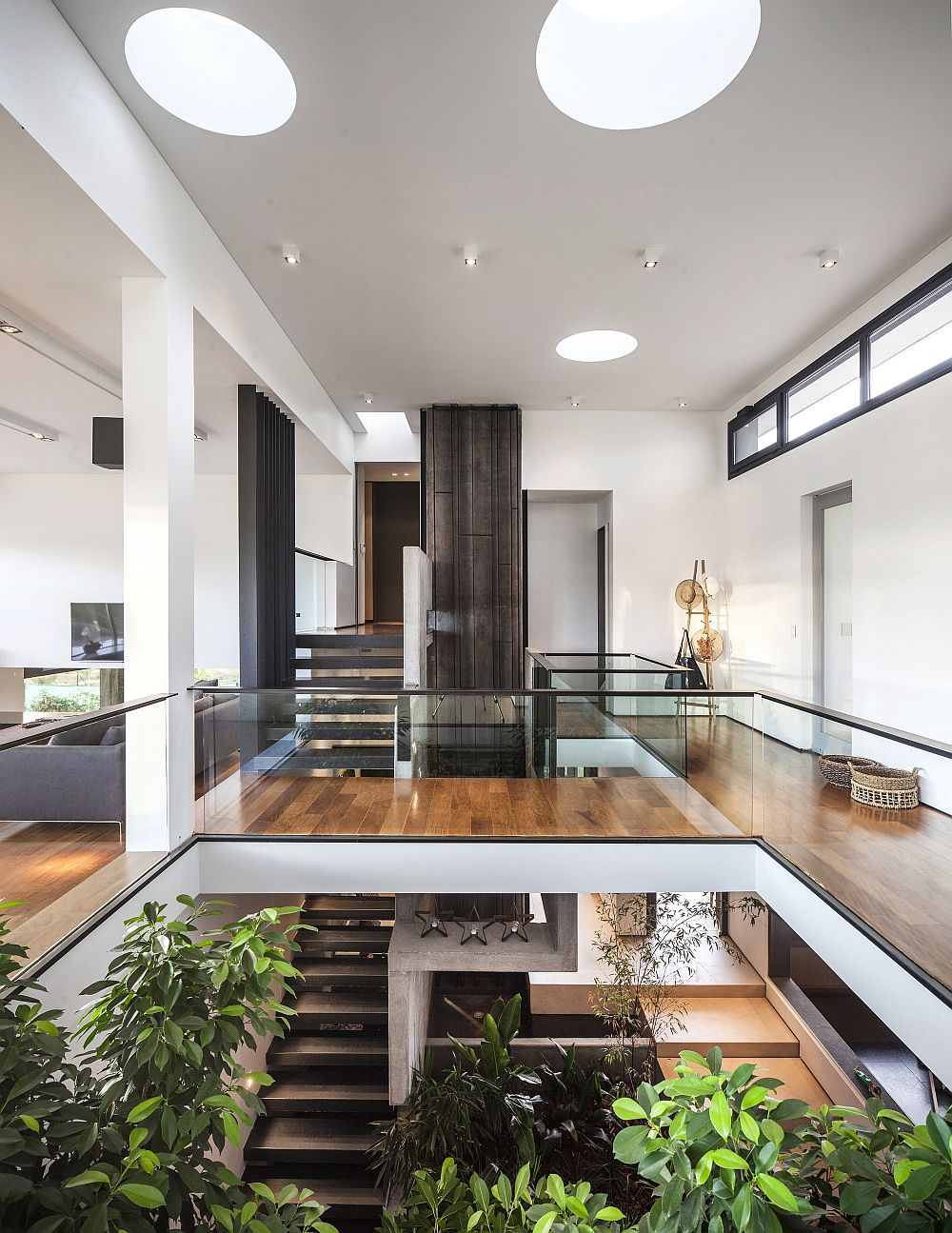 Cleverly interconnected multi-level interior of the Argentine home