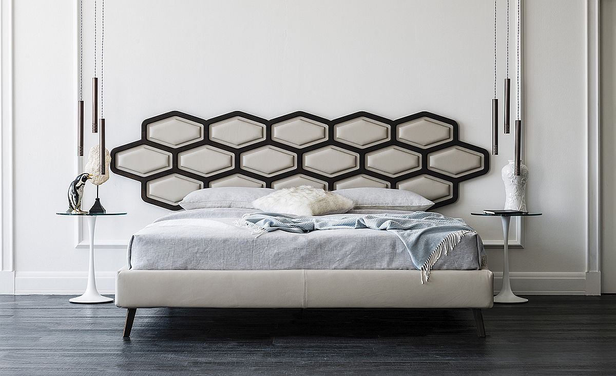 Contemporary bed with ingenious headboard from Cattelan Italia