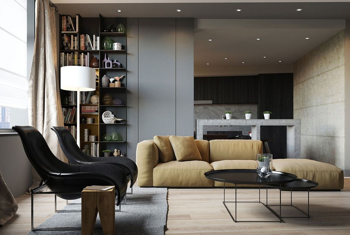 Corner shevling in the living room serves as an ergonomic and aesthetic addition