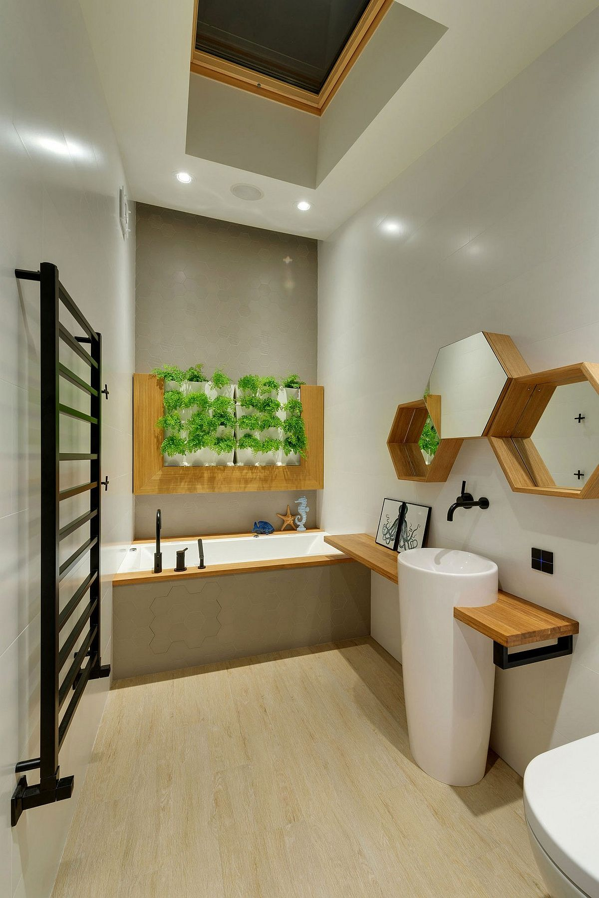 Creative bathroom design with green wall feature and hexagonal shelves