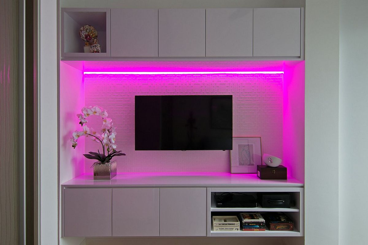 Creative way to light up the TV nook in the bedroom