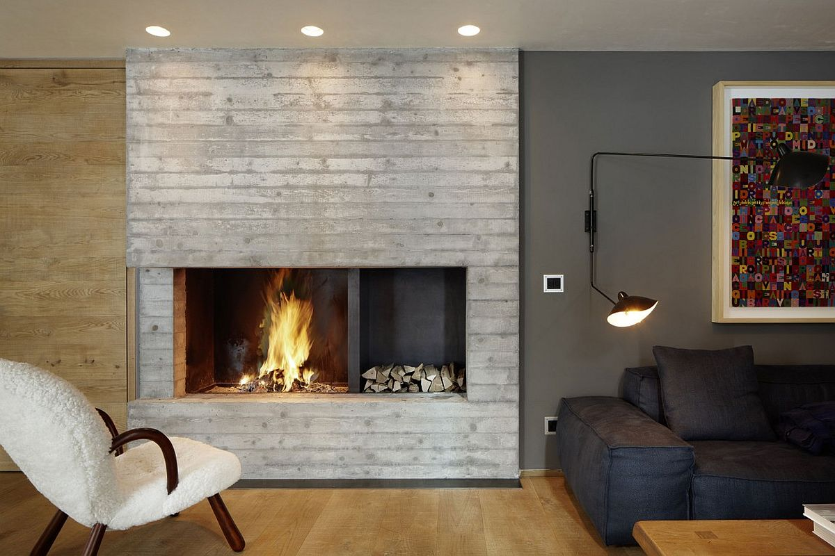 Custom contemporary fireplace design with textural beauty
