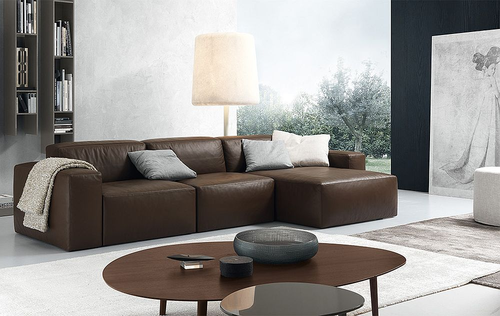 Daniel sectional sofa in chocolate brown