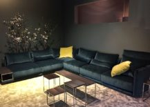 Dark sectional in black leather finish is ideal for the refined contemporary living room - JAB Anstoetz at Salone del mobile 2016