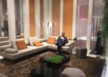 Dashing and polished coffee tables stand in contrast to the couch in neutral hue - Jori at Milan 2016