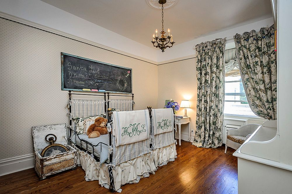 Decor adds to the shabby chic style of this exquisite kids' room [Photography: Dennis Mayer]