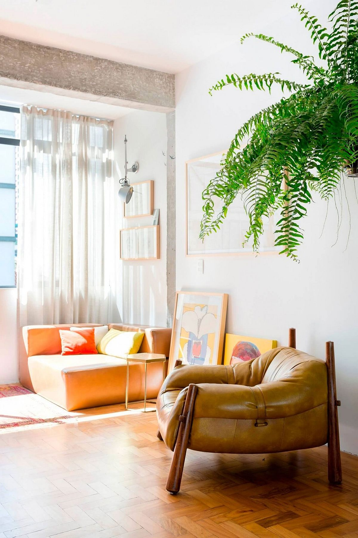 Decor inside the Sao Paulo apartment brings plenty of color to the neutral setting