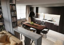 Dining room and kitchen design incorporates iconic chairs