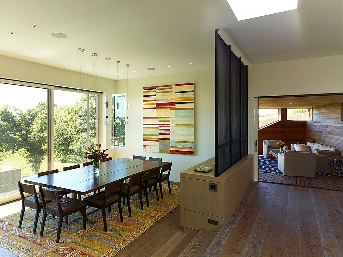 Dining room with a view of the surrounding landscape