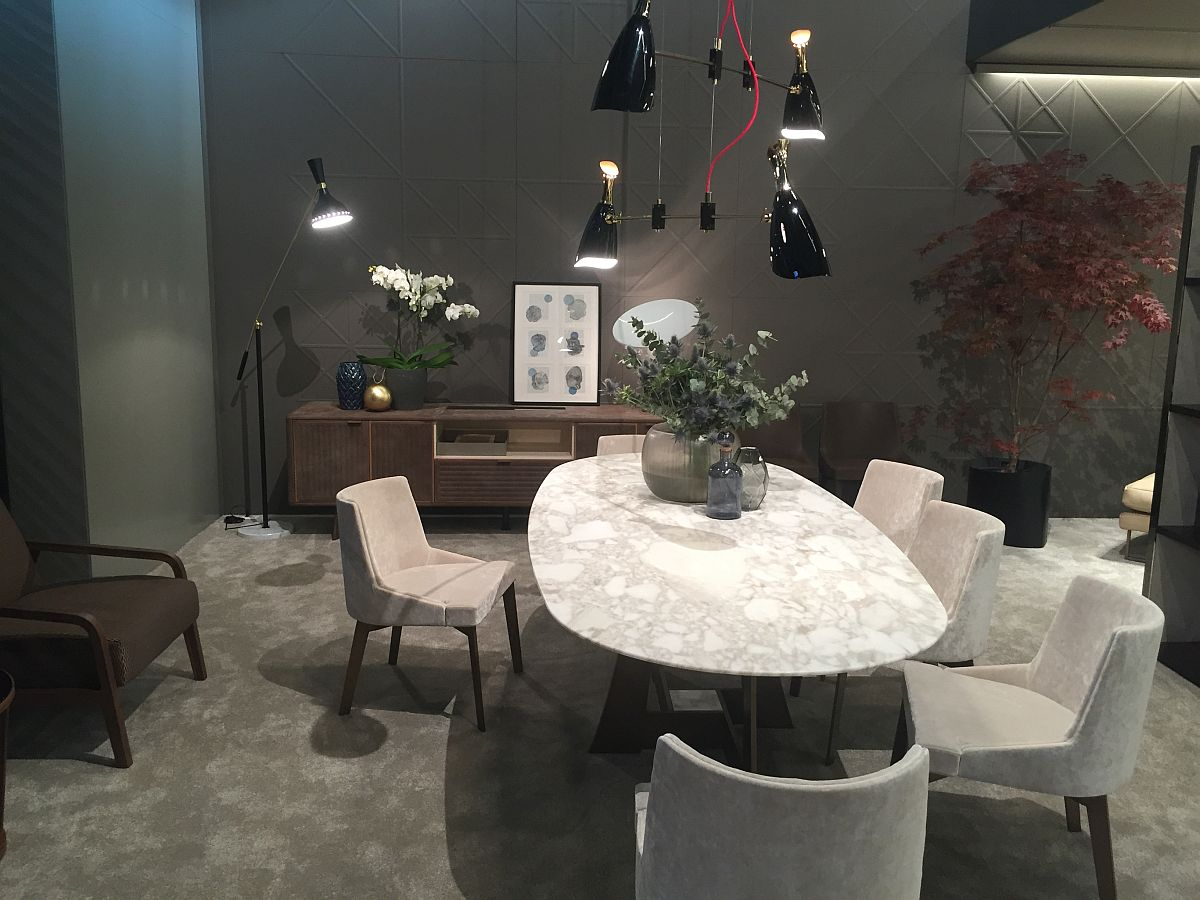 Dining table with marble coutertop exudes an air of luxury 40 Dining Room Ideas That Caught Our Eye at Milan 2016