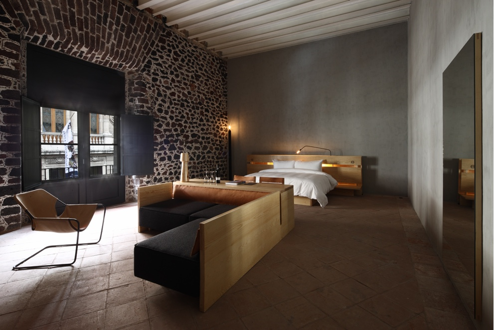 A room at the Downtown Hotel in the Centro Histórico borough of Mexico City, with interior design by Paul Roco.