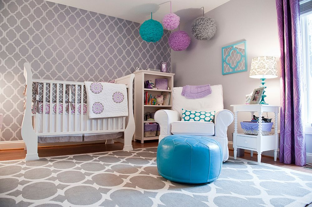 Drapes bring a dash of purple to this modern nursery in gray [Design: Barden's Decorating / Beth Furgurson Photography]