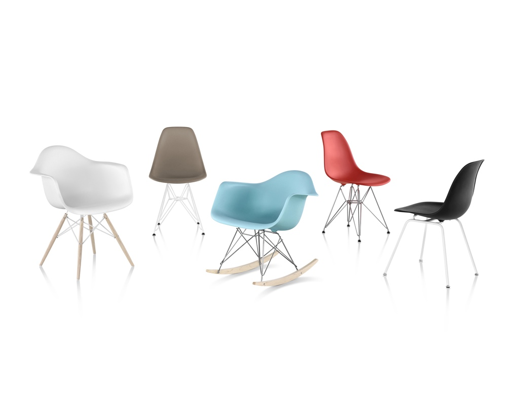 Eames Moulded Plastic Chairs. Image © 2016 Herman Miller, Inc.