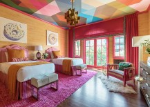 Eclectic guest bedroom full of color 217x155 Visual Feast: 10 Rooms with Magical Multicolored Ceilings