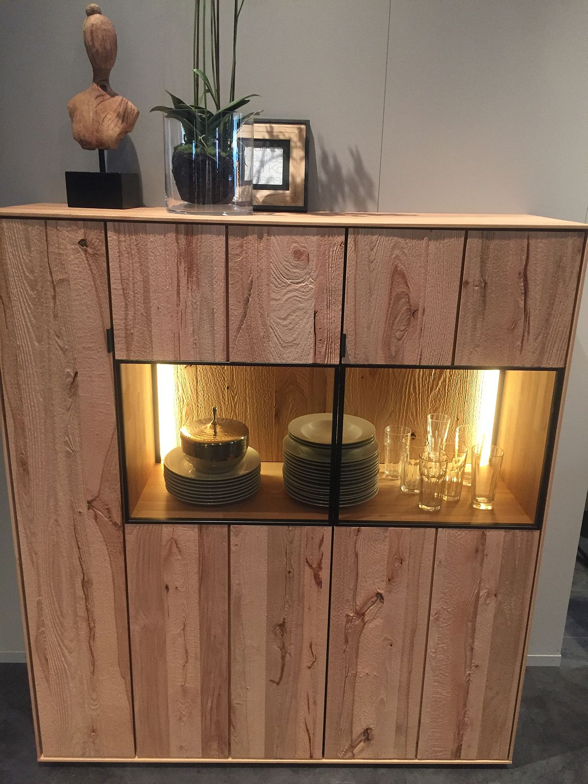 Ergonomic sideboard with in-built lighting and glass display zone