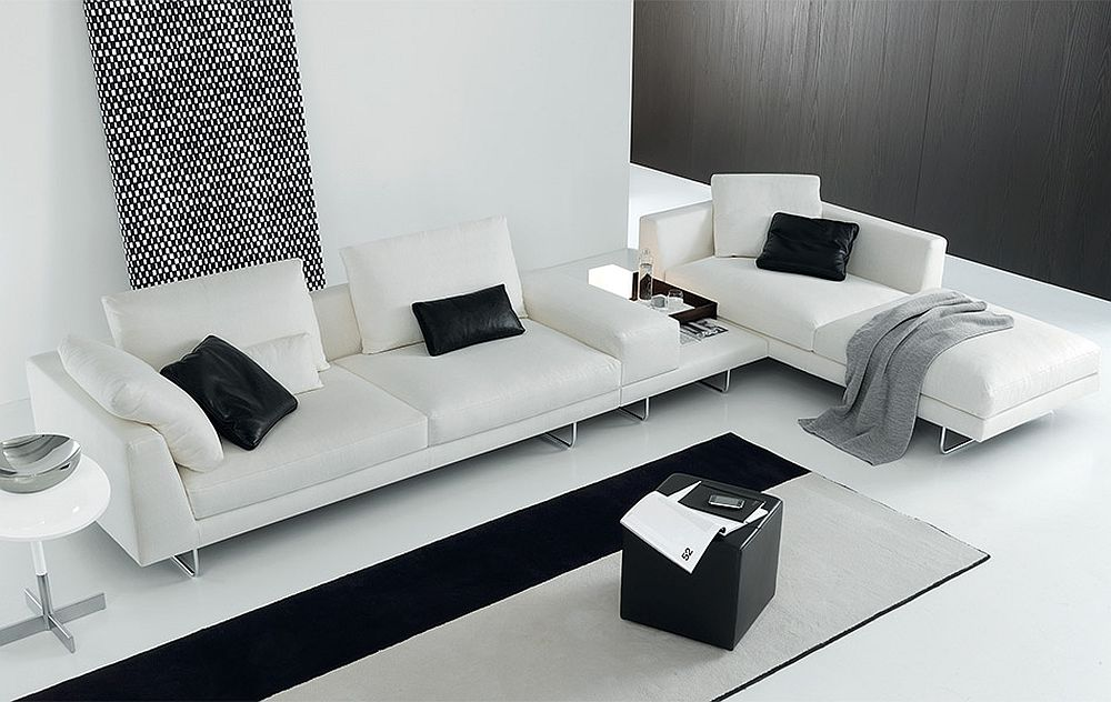 modular sofa in pristine white for the contemporary living room