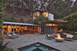 Exterior and pool deck of rustic modern home renovation in Santa Monica Canyon, California