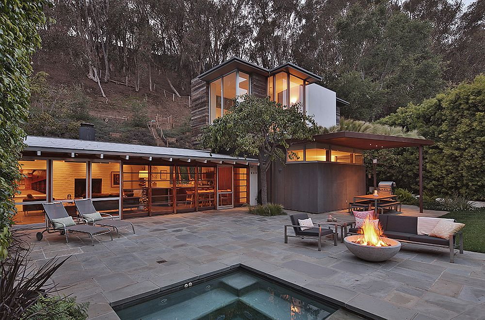 Exterior and pool deck of rustic modern home renovation in Santa Monica Canyon California Ranch Style Santa Monica Home Draped in Pleasant Rustic Modernism