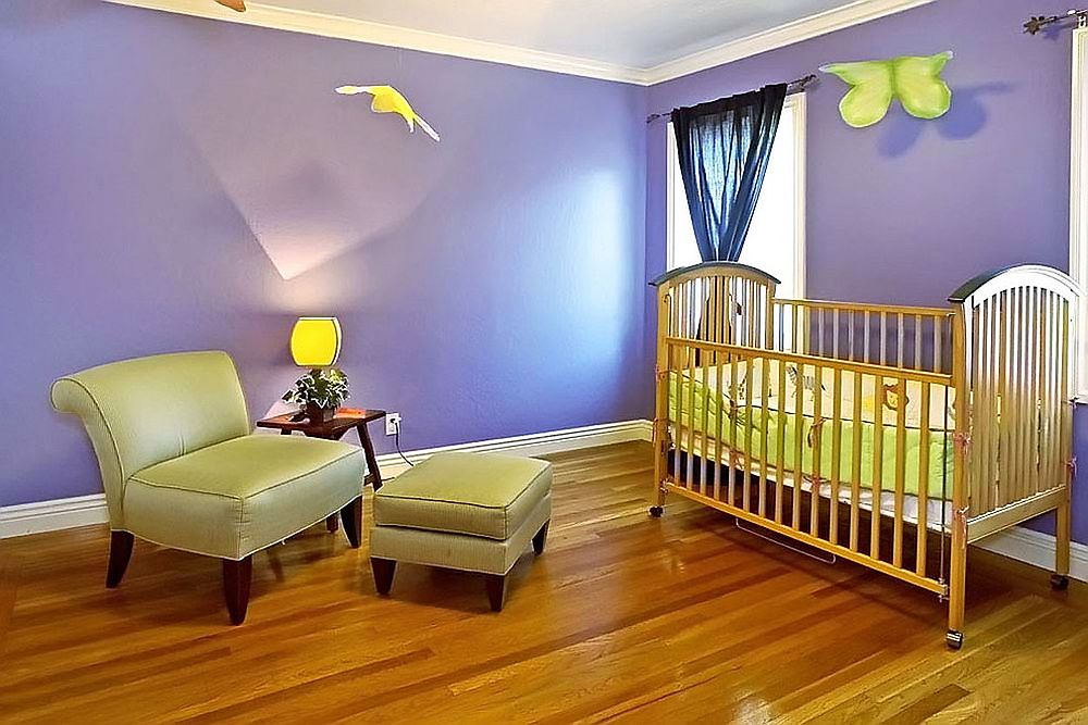 Fabulous contemporary nursery clad in Dahlia purple [Design: mark pinkerton - vi360 photography]