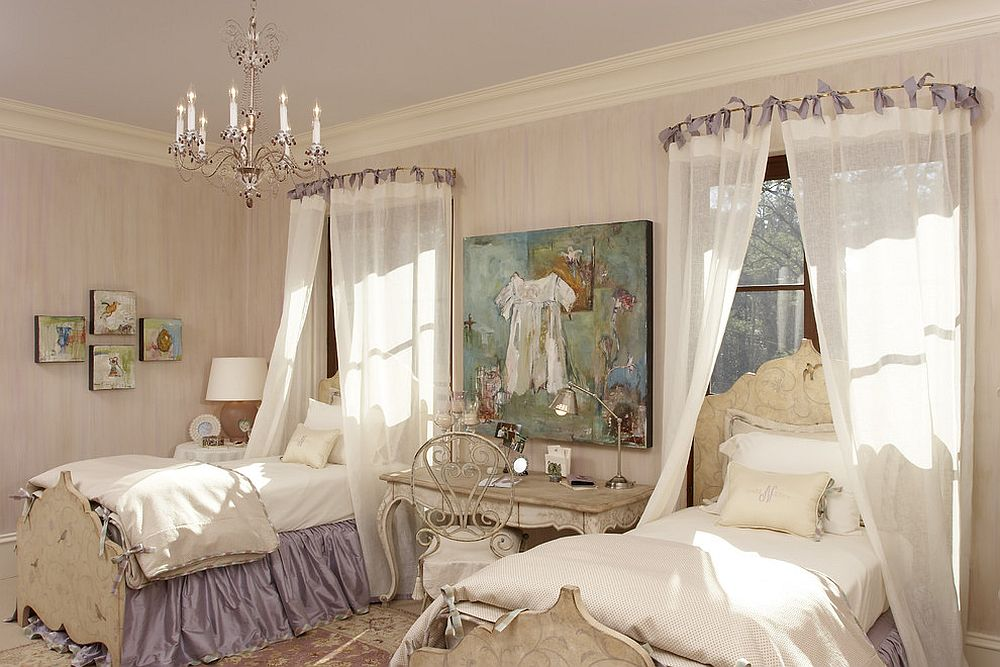 Fabulous girls' bedroom has a timeless and elegant aura [Design: Margaret L. Norcott]