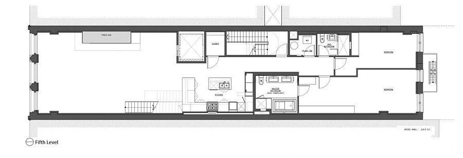 Fifth level floor plan of modern apartment building in New York City