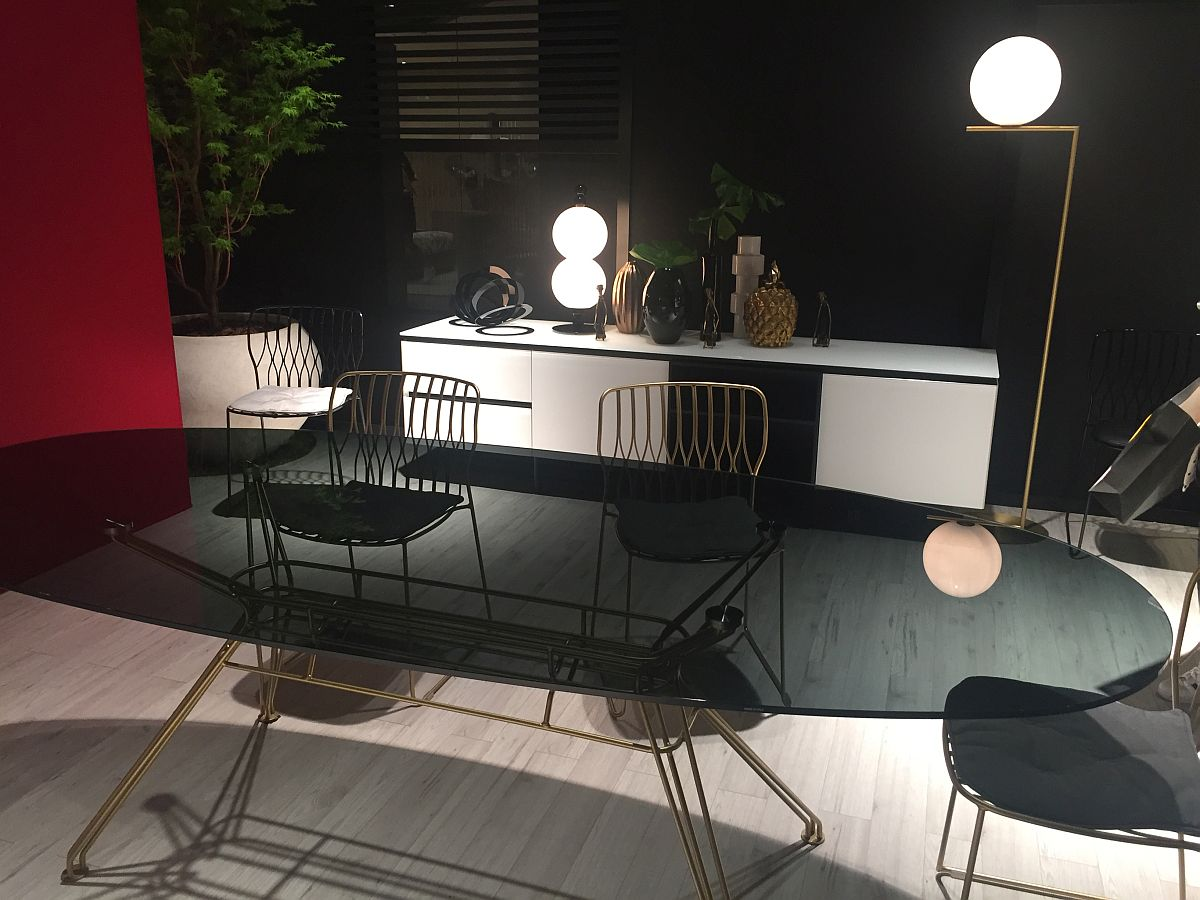 Flashy dining table and sideboard from Bontempi Casa at Milan 2016