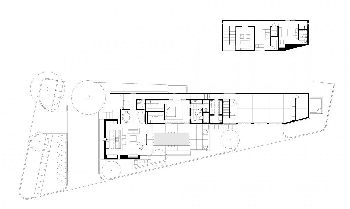 Floor plan of contemporary couryard styled home in Dallas