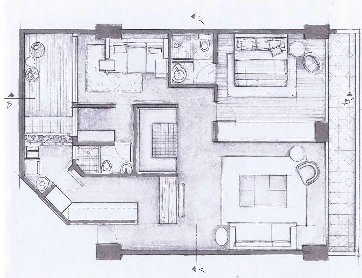 Floor plan of the Hegel Apartment in Mexico City