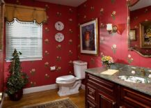 Flowery wallpaper with lots of red is perfect for the classic and playful Victorian powder room 217x155 A Timeless Affair: 15 Exquisite Victorian Style Powder Rooms