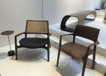 Flowing design of chairs and coffee tables with Brazilian native cahrm from Raiz