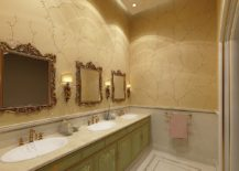 Formal and classic powder room with 3D wall art